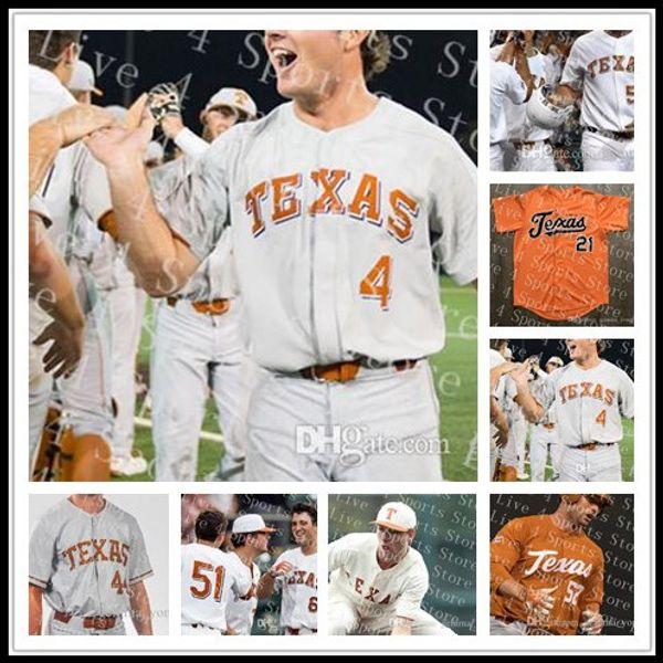 Cheap personalizzato Texas Longhorns NCAA College Baseball 2 Kody Clemens 1 David Hamilton 4 Tate Shaw 52 Zach Zubia Tutti cucita maglie all'ingrosso