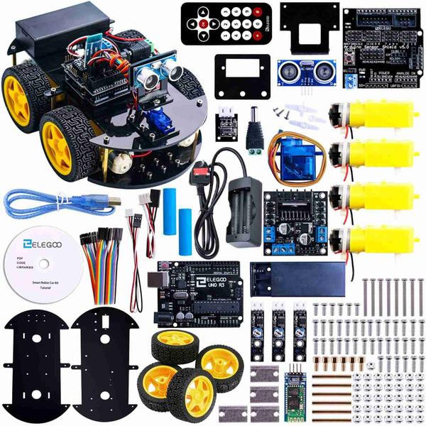 Freeshipping Projesi Akıllı Robot Araba Kiti ile Uno için Ultrasonik Sensör, etooth modülü, vb Eğitici Oyuncak Araba Ile CD