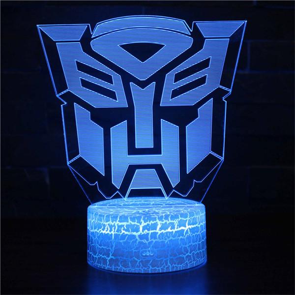 3D Illusion Night Light Movie Transformer LED Nightlight for Boys Great Gifts for Christmas & Birthday