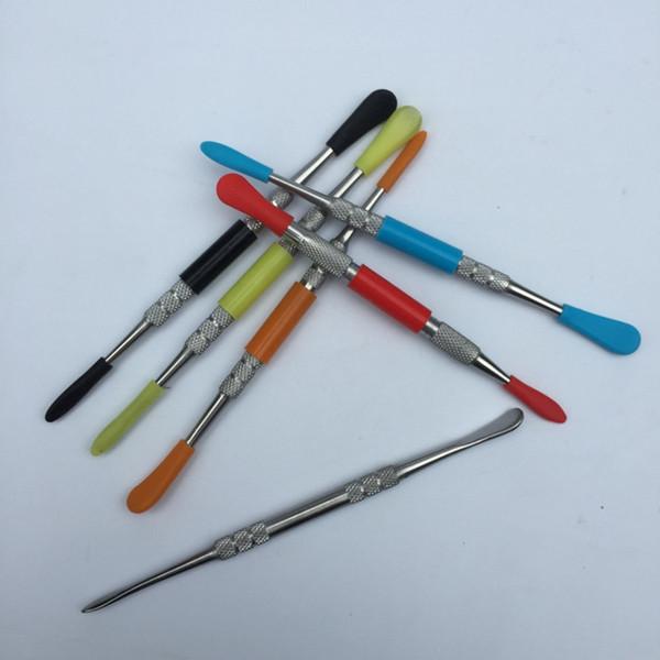 Tupfen Sie Werkzeuge 2 Stil für trockene Kräuter Glas Bong Wasserpfeifen Quarz Banger Nägel Ölplattformen mit Silikon-Tipps