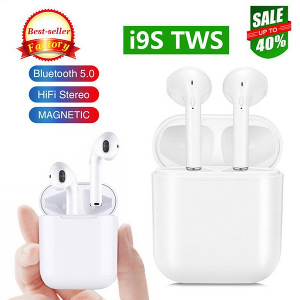 Best I9S TWS v5.0 Bluetooth Earphone Wireless Music Handsfree Car Driver Headset Phone Stealth Earbuds With Mic For Iphone 7 8 X XSMAX