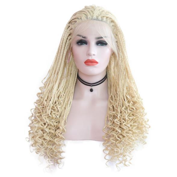 Afrika Sentetik Örgü Saç Peruk Bbay ile Sarışın Örgülü Peruk Saç Isıya Dayanıklı Sentetik Dantel Ön Peruk Siyah Kadınlar için FZP159