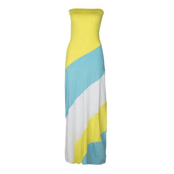Fiesta de verano Poliéster Vestidos de mujer una pieza Vestido de moda para mujer Splice Bodycon Off Geometría de hombros sin mangas