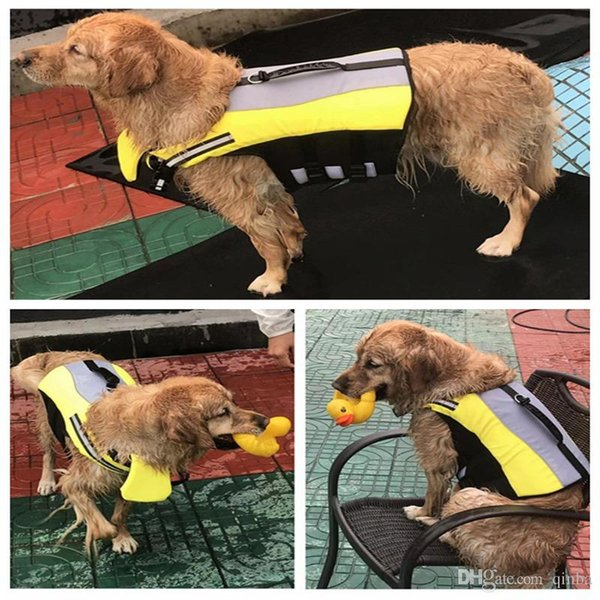 New Yellow Reflection Flotation Life Jacket for Dogs Adjustable Durable Safety Vest Coat Water Proof Nylon Polyester PVC Swimsuit Apparel