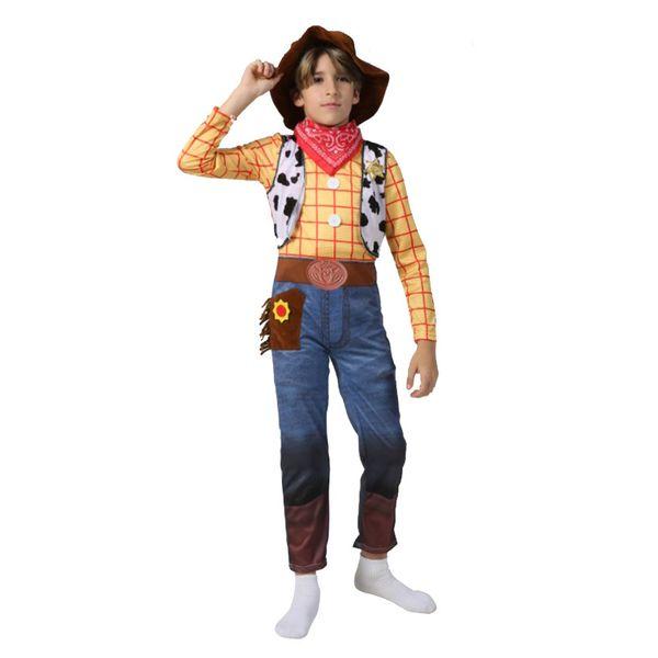 Vêtements pour garçons Costumes Woody Enfants Deluxe Enfants Déguisements Costume d'Halloween pour Enfants Woody Role Play Costume Cowboy Costume