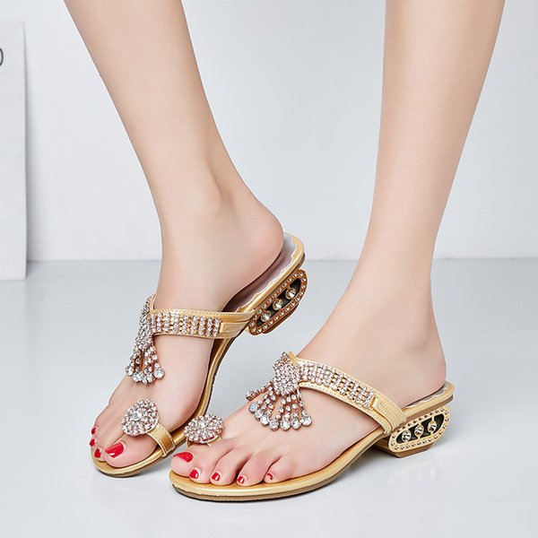 Woman Female Summer Fashion Sexy Roman Sandals Rhinestone Slippers Flip Flops Ladies Thick Low Heel Shoes Clip Toe Gold Sandal