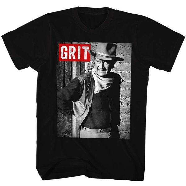 John Wayne T-Shirt GRIT Duke Cowboy in 100% Black Cotton in Sizes SM - 3XL