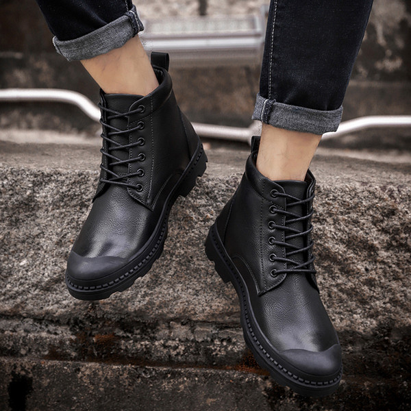 Men Winter Boots With Fur Shoes Lace Up Warm Snow Boots For Men High Quality Leather Shoes Luxury Ankle Boots Shoes999