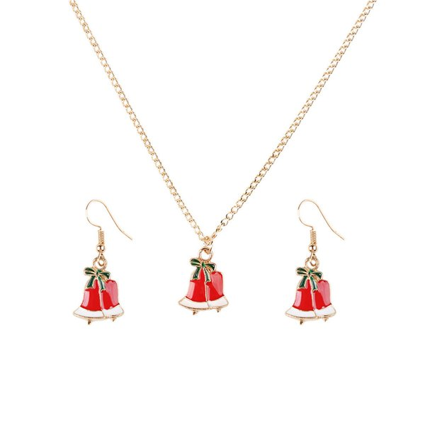 2 Heat Selling Christmas Small Bell Santa Claus Jewelry Suit New Pattern Necklace Earrings Close Gold Ornaments Product