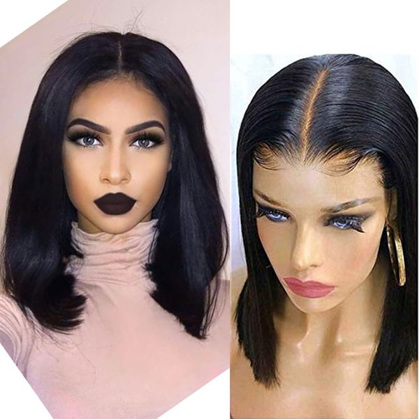 Brazilian Human Hair Wigs Bleached Knots Brazilian Straight Bob Hair Wig 13*6 Lace Frontal Wigs Pre-Plucked 130% Density