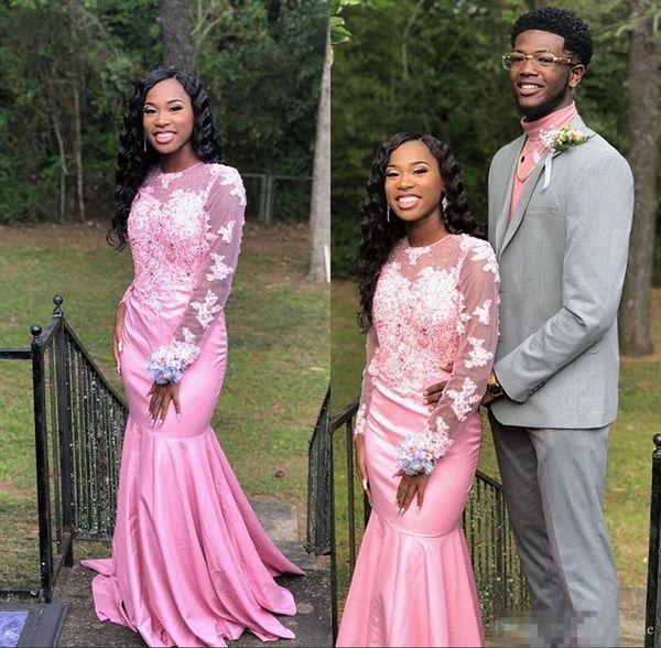 2019 Elegant Sheer Long Sleeve Pink Mermaid Prom Dresses Black Girls Lace Appliques Sweep Train Plus Size Formal Evening Dresses