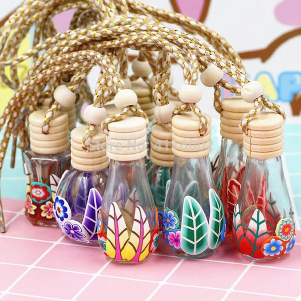 Hot 8-15ml Polymer Clay Glass Essence Oil Diffuser Perfume Empty Bottle Car Hang Decoration Tourist Souvenirs