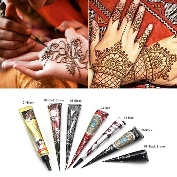 1PC Negro Color de la tinta del tatuaje de la alheña Pegar impermeables del tatuaje dibujo tatuaje de bricolaje Body Paint arte para la plantilla Herramientas RRA1315
