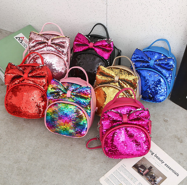 Çocuk gökkuşağı sequins sırt çantası kız Yaylar prenses çanta çocuklar sequins çift omuz çantası kızlar açık rahat sırt çantası F9579