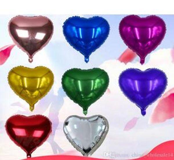 5pcs/lot 18inch Aluminum Foil Balloon Heart Shape Hydrogen Wedding Birthday Balloons DIY Party Decoration Supplies
