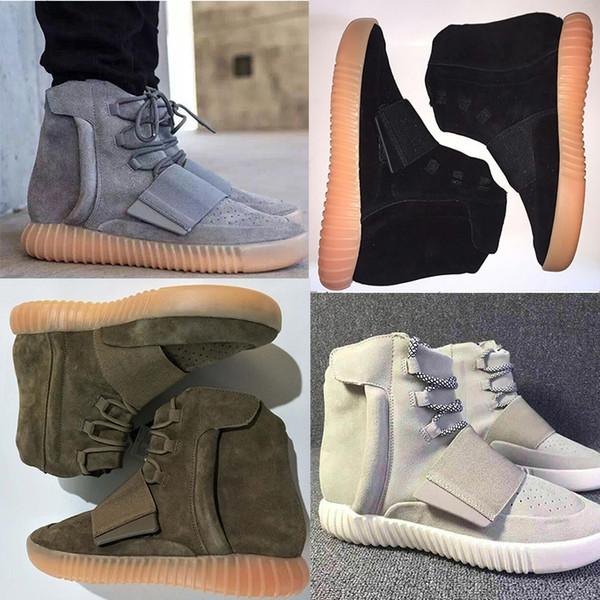 best selling HOT Kanye West 750 Boots shoes Mens Glow Dark Light Grey Triple Sneaker Black High Ankle Shoes Skateboard Sport Shoes women size 36-46