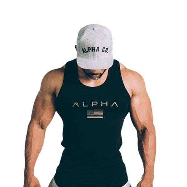 Maglietta Uomo che corre Maglia Canotta Cotone Uomo Palestra Fitness Maglietta senza maniche Bodybuilding Allenamento da allenamento Crossfit Abbigliamento da uomo