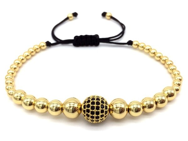 2019 Fashion 6mm Beads Braided Macrame for Men Bracelet Pave Black CZ Ball Connector Fashion Bangle Jewelry Gift