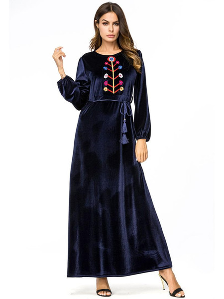 Elegante Stickerei Samt Abaya A Linie muslimischen Maxikleid hohe Taille Schaukel lange Roben Kimono lose Ramadan arabische islamische Kleidung