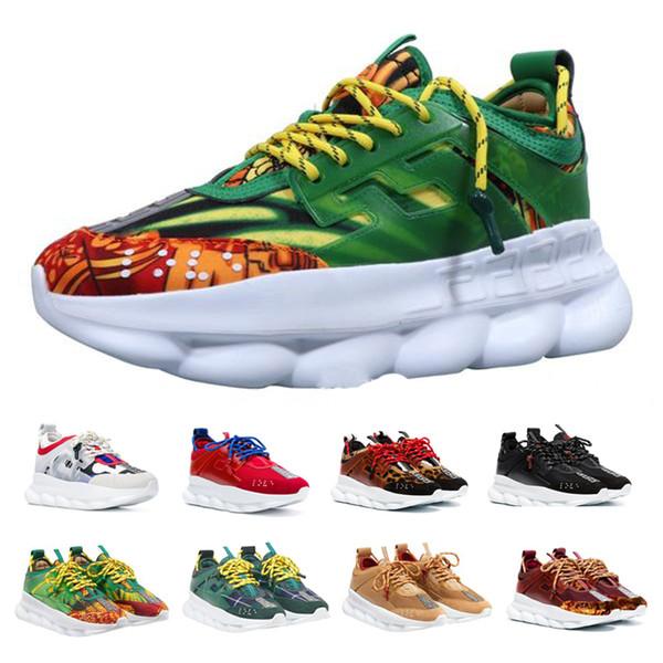 Erkek Zincir Reaksiyon Lüks Koşu Ayakkabıları Erkek Kadın Chainz Beyaz Siyah Benekli Moda Tasarımcısı Spor Sneakers Sole