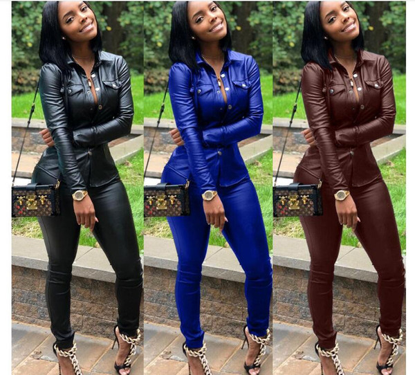 2018 High quality PU sports suit long sleeved jacket + long pants 2 pieces fitness suit jogging sportswear Yoga wear