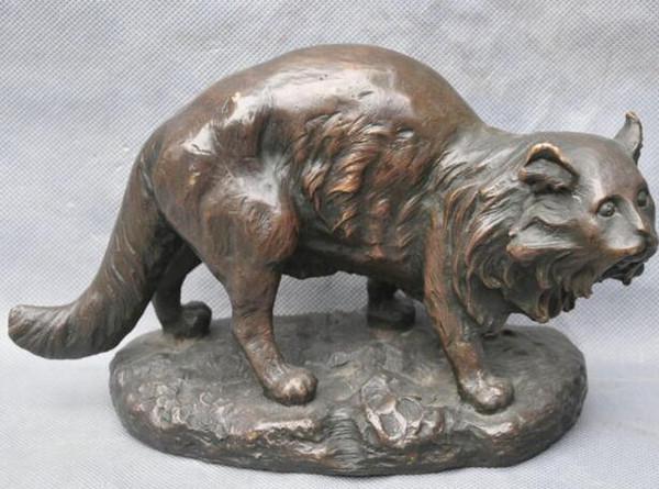 Medicine Bronze Wild Animal Cat Lynx Art Sculpture Statue cigarette lighter cooking tools Decoration 100% Brass Bronze