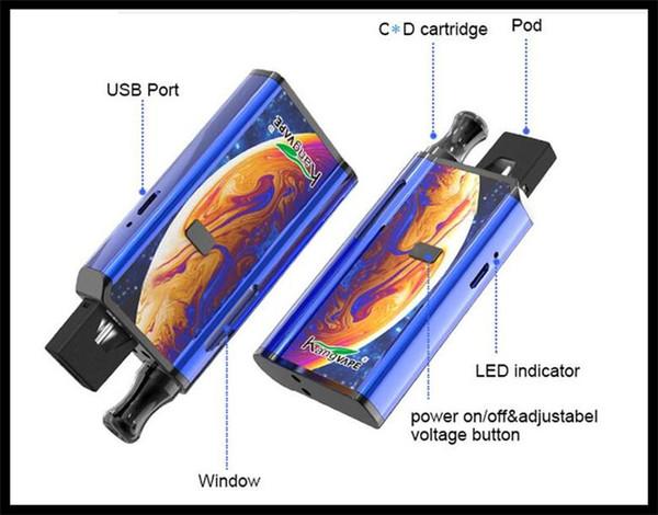 Kit module Starer de batterie du système de préchauffage vaporiseur de la batterie mod tension variable e cig 650mAh mod VV pour les cartouches d'huile épaisse