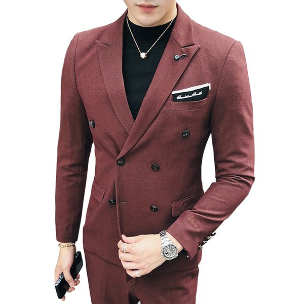 1 Piece 2019 New Fashion Boutique Solid Color Mens Double-breasted Blazer Business Groom Wedding Dress Suit Jacket Male