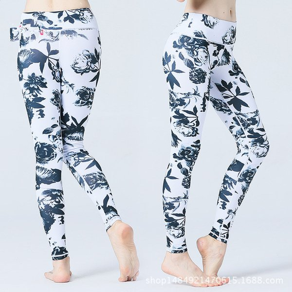 Black and white flower trousers