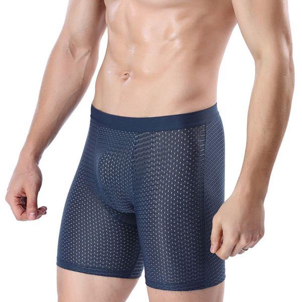 4XL Large Size Mesh Male Underwear Ethika Men Boxer Long Men's Transparent Panties Shorts Underpants Man Bamboo Mens BoxersMX190904