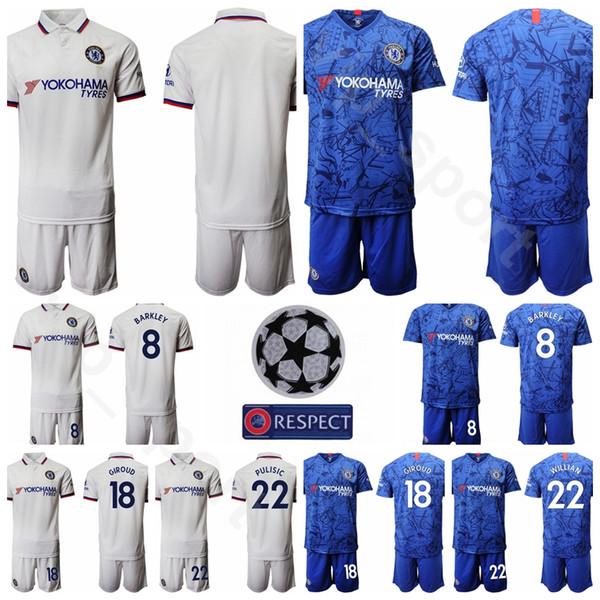 남성 2019 2020 Soccer 22 Christian Pulisic Jersey Set 18 Olivier Giroud 14 Tiemoue Bakayoko 8 Ross Barkley 10 WILLIAN 축구 셔츠 키트