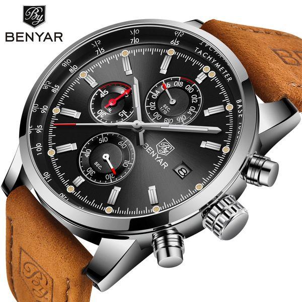 Benyar Men Watch Top Brand Luxury Male Leather Quartz Chronograph Military Waterproof Wrist Watch Men Sport Clock Relojes Hombre Y19051403