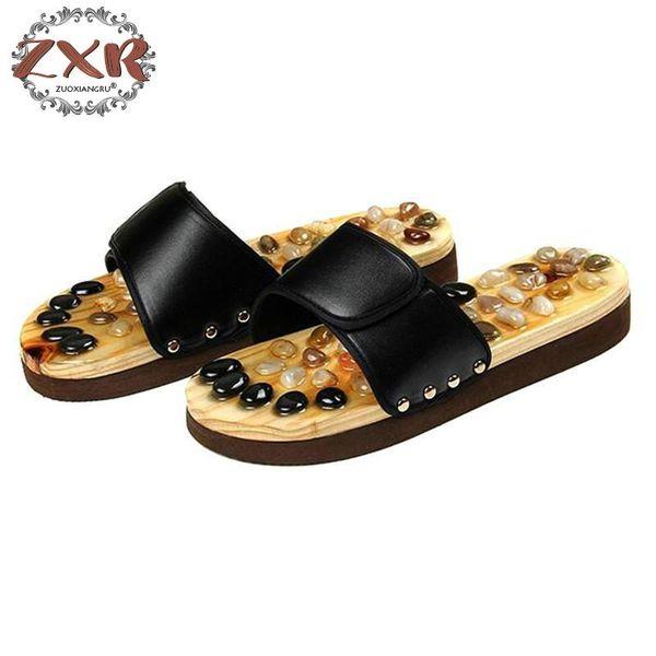Zuoxiangru Ayak Masajı Terlik Erkekler Sağlık Çakıl Taş Sandalet Erkek Refleksoloji Ayaklar Yaşlı Akupunktur Masaj Ayakkabı