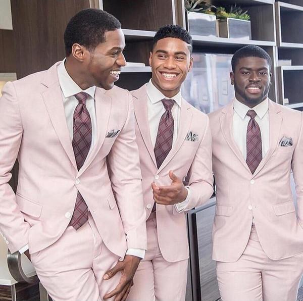 2019 novo empoeirado rosa casamento smoking slim fit ternos do noivo custom made groomsmen festa de formatura ternos (jaqueta + calça) dois botão preto casal dia