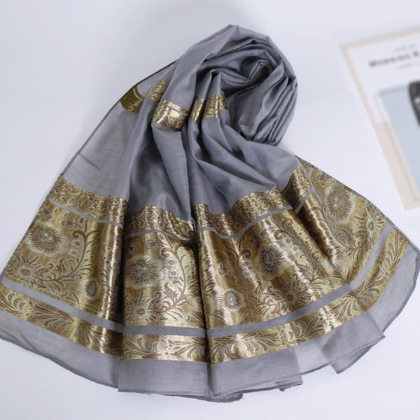 Оптовая 2019 Новый дизайн Блеск Shimmer мусульманское Хиджаб Высокое качество золота Цветочный печати Длинный шелковый шарф