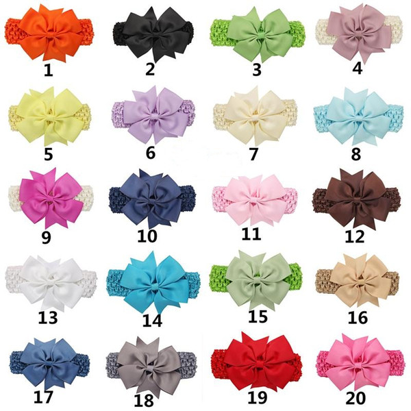 Baby Kids Grosgrain Dovetail Ribbon Bowknot Headbands Girls Bow Dot Hairbands Knit Headwrap Children Hair Accessories 2 Styles 44 Colors