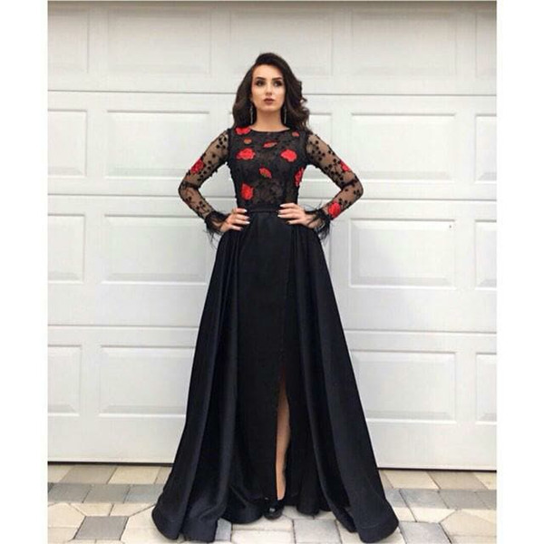 A Line Black African Party Long Sleeve Prom Dresses Side Cuts Zuhair Murad Paolo Sebastian Formal Evening Gown Dresses 2019