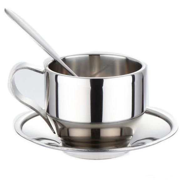 Edelstahl Kaffeetasse Set Teetasse Untertasse Set Mit Löffel Edelstahl Kaffeetassen Set H018