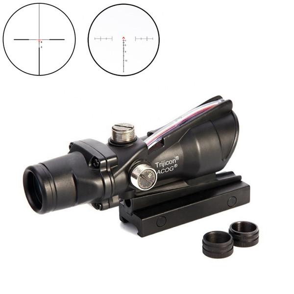 Trijicon Hunting Riflescope ACOG 4X32 실제 광섬유 적색 조명 Chevron Glass Etched Reticle 전술 광학 시력