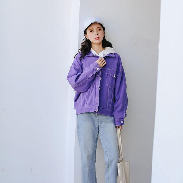 Fall Harajuku BF Style Denim Jacket Women Vintage Loose Jeans Coat Female Pockets Purple Overcoat