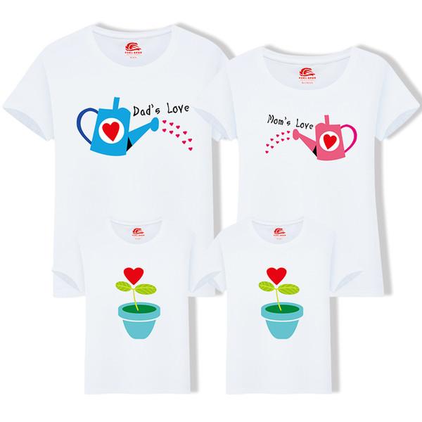 Eşleşen Aile Giyim 1 parça Aile Yetiştirmek Için Aşk Yaz Kısa kollu T-shirt Kıyafetler Anne Kızı Ve Baba Oğul