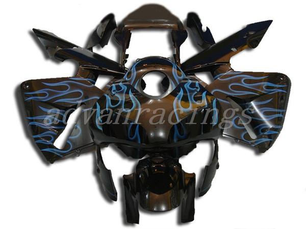 3Gifts Nueva motocicleta ABS Kits de carenados completos + cubierta del tanque Ajuste para HONDA CBR600RR F5 2003 2004 03 04 600RR CBR600 conjunto de carrocería bonita llama azul