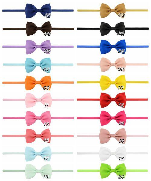 Newborn Baby Bow Headbands Girls Nylon Ribbon Hairbands Girls Handmade Mini Headband Children Hair Accessories Kids Headdress 0601900