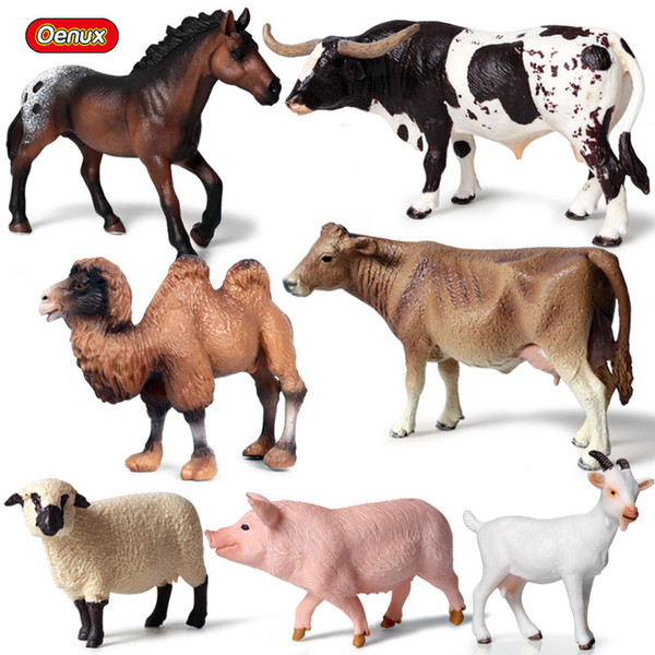 enux 7pcs/set Farm Animal Horse Cows Model Action Figures Lovely Pig Figurines Sheep Came High Quality Education Cute Toys Gift Oenux 7pc...