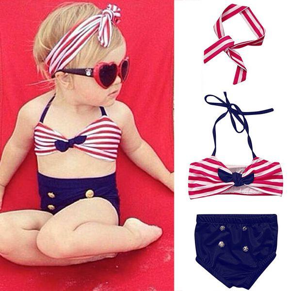2019 NEW Summer Swimwear Bathing suit Fashion Children bikini Baby Girls Striped Halter Bow Top Headband Swimsuit