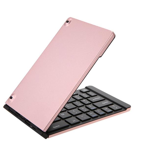 Dobrável BT Ultra Slim de bolso teclado portátil Mini teclado BT sem fio construído em recarregável Computer bateria periférica