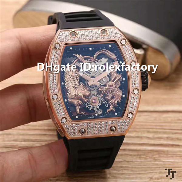 Top Luxury 51-01 Watch Skeleton Dial Tourbillon Automatic Sapphire Rose Gold Diamond Case Rubber strap transparent case back Mens Watch
