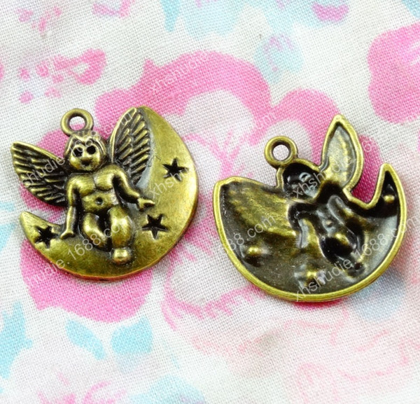 60pcs 21.5*21.8MM Antique bronze tibetan moon angel fairy charms for bracelet vintage metal pendants earring handmade DIY jewelry making