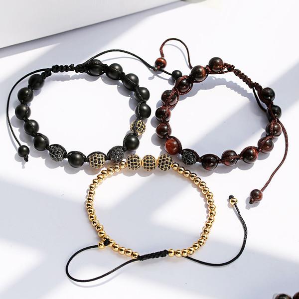 Cubic Zircon Copper Round Beads Braided Bracelet Tiger Eye Beads Bracelet Adjustable Size Lava Stone Bracelet Reiki Spiritual Yoga