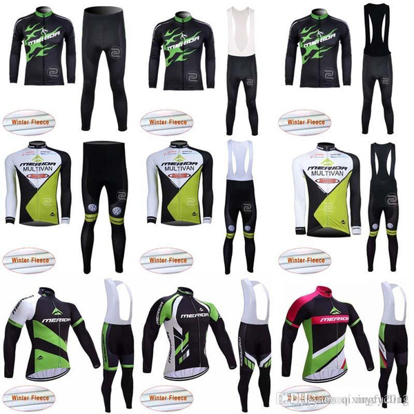 2018 MERIDA Winter long sleeve cycling jerseys pants bike bicycle thermal fleeced wear set Plush fabric bib pants sets C1021